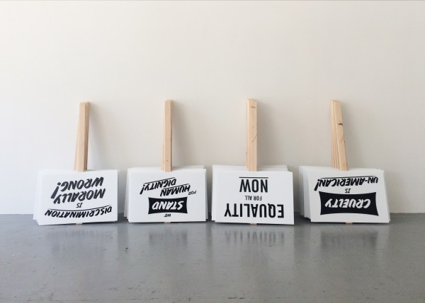 The Luminary, Arts Publication Pop-up, Screen-printed plastic, wooden stakes, 2017